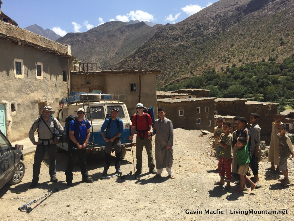 Pic of climbers and locals in Moroccan village